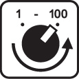 Rheostat/Slider Dial with Stimulation Levels 1-100